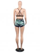 Camouflage Plaid Letter V Neck 2 Piece Shorts Set