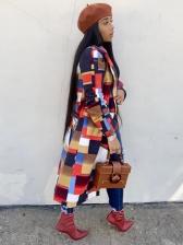Color Block Turndown Neck Autumn Long Coat
