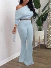 Inclined Shoulder Bell Bottom Solid 2 Piece Pants Set