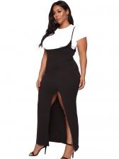 Euro Oversized Slit Two Piece Skirt Set