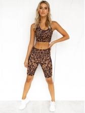 High Elasticity Leopard Print Shorts Two Piece Sets