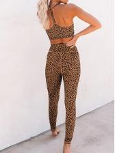 Sporty High Waist Leopard Print Two Piece Sets
