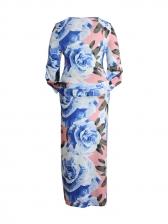 Print Plus Size Long Sleeve Dresses