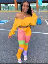 Contrast Color Patchwork Women Trouser Set