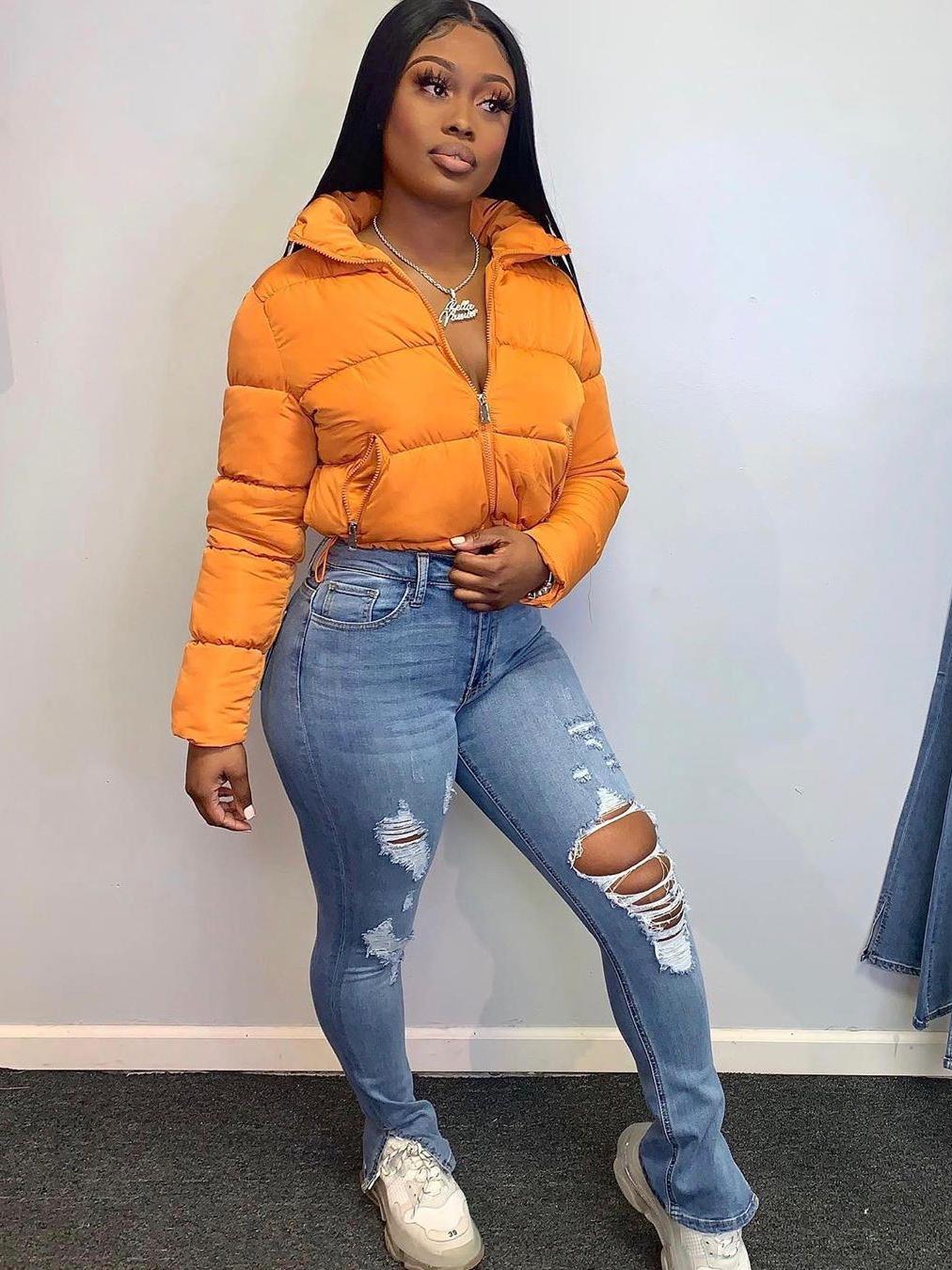 Trendy Split Hem Skinny Distresses Jeans