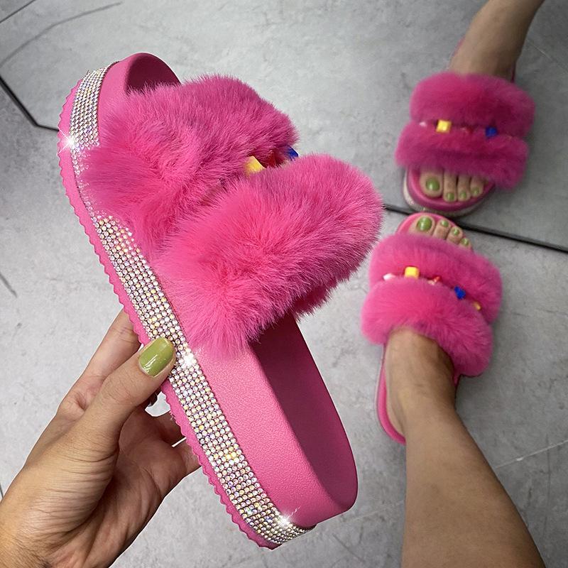 Causal High Platform Women Fluffy Slippers