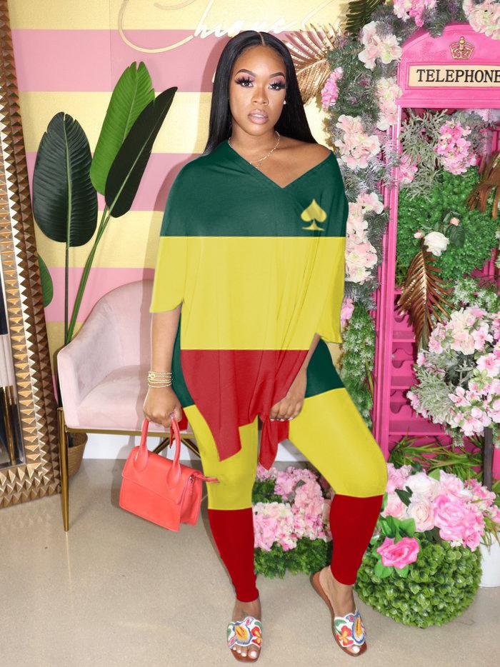 Casual Contrast Color Plus Size Trouser Set