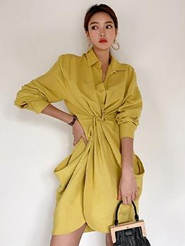 OL Style Draped Solid Loose Ladies Dress