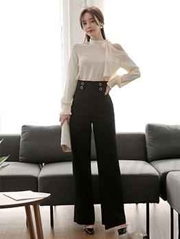 Open Shoulder Bow Neck Blouse With Black Pants