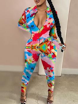 Contrast Color Front Zipper Skinny Jumpsuit