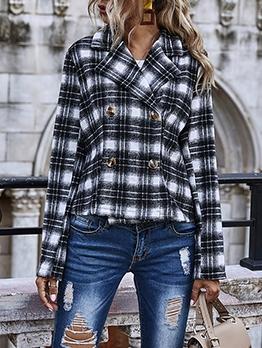Street Wear Plaid Long Sleeve Coats For Women