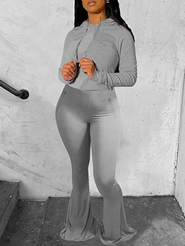 Pure Color Hooded Flare Pants Fitted Tracksuit Set