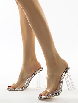 Snake Skin Printed Clear Upper Heeled Stylish Slippers