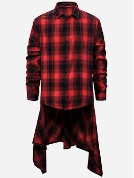 Hip-Hop Irregular Hem Plaid Shirts For Men