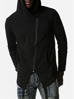 Fashion Solid Irregular Zip Up Hoodies