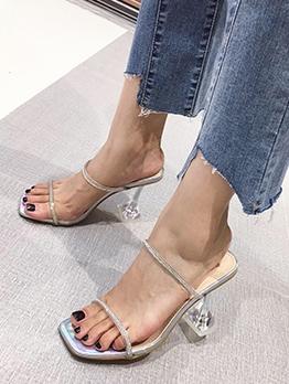 Square Toe Rhinestone Womens Slippers