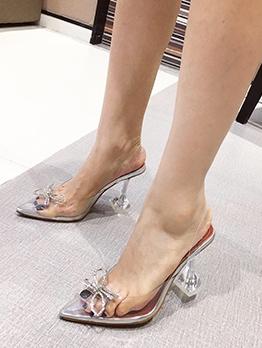 Pointed Toe Rhinestone Bow High Heels