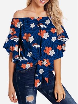 Hot Sale Off Shoulder Tie-Wrap Floral Women Top