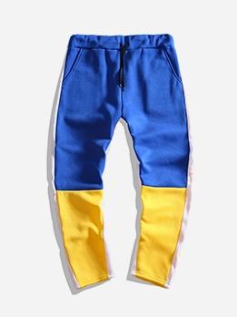 Contrast Color Drawstring Mens Casual Pants