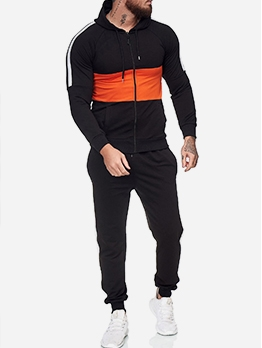 Contrast Color Hooded Long Sleeve Workout Clothes