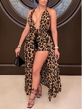 Sexy Leopard Print Maxi Dress With Short Pants