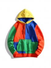 Trendy Color Block Long Sleeve Pullover Hoodie
