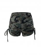 Printed Long Sleeve Crop Top And Shorts Set