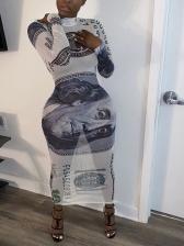 Dollar Print Mock Neck Long Sleeve Maxi Dress