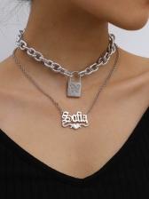 Creative Rhinestone Lock Pendant Layered Necklace