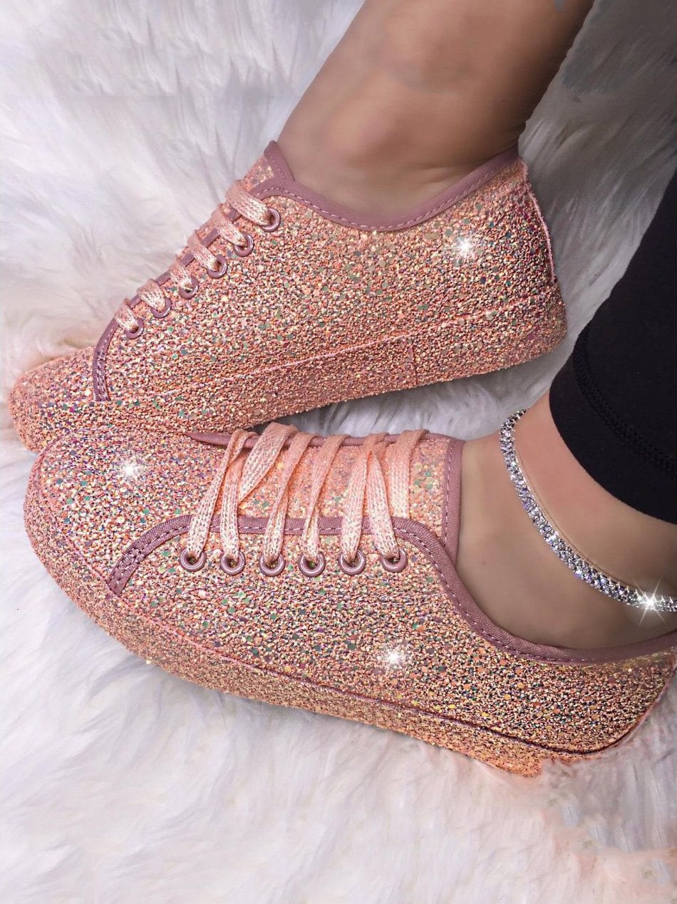 Glitter Solid Lace Up New Sneakers