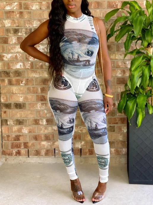 Dollar Print Sleeveless 2 Piece Outfits