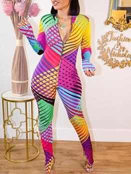 Print Slim Nightclub Women Skinny Jumpsuit