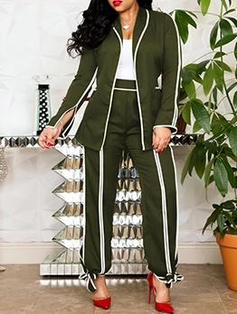 Fashion Contrast Color Tie-Wrap Pants Two Piece Sets