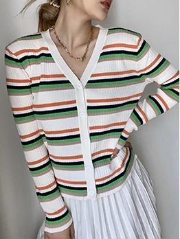 Fashion Striped Long Sleeve Cardigan For Women