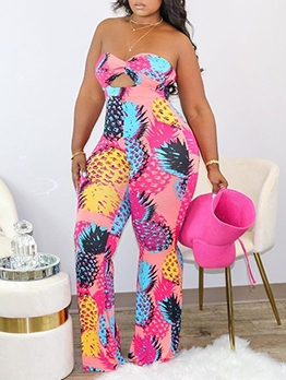 Colorful Printed Strapless Jumpsuits For Women