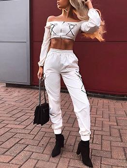 Fashion Off Shoulder Crop Top And Jogger Pants