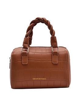 Twist Handle Solid Stone Grain Ladies Handbags