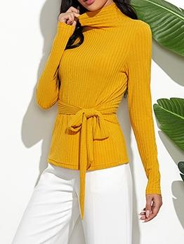 Turtle Neck Tie-Wrap Pullover Sweater