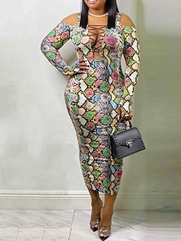 Snake Skin Printed Women Plus Size Maxi Dresses