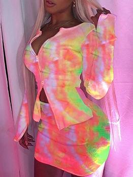 Tie Dye Zipper Long Sleeve Two Piece Skirt Set