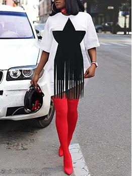 Star Tassel Design Short Sleeve T Shirt Dress