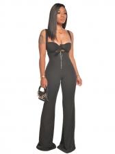 Fashion Zipper Up Solid Wide Leg Jumpsuit