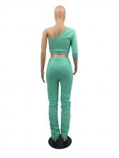 One Shoulder Crop Top Stacked Pants Set For Women