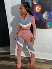 Contrast Color Zip Up Long Sleeve Trouser Set