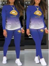 Lip Pattern Long Sleeve Casual Trouser Set