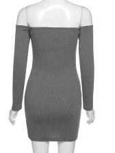 Dark Gray Boat Neck Off Shoulder Short Dress