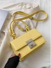 Candy Color Rectangle Shoulder Bag With Knotted Handle