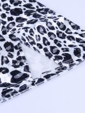 Leopard Print Strapless Crop Top And Skirt Set