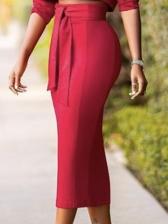 Stylish Solid Cropped 2 Piece Skirt Set