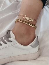 Punk Chain Mixed Letter Women Anklet Set